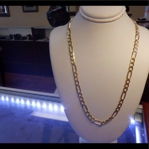 14k solid real yellow gold Figaro chain Brand new